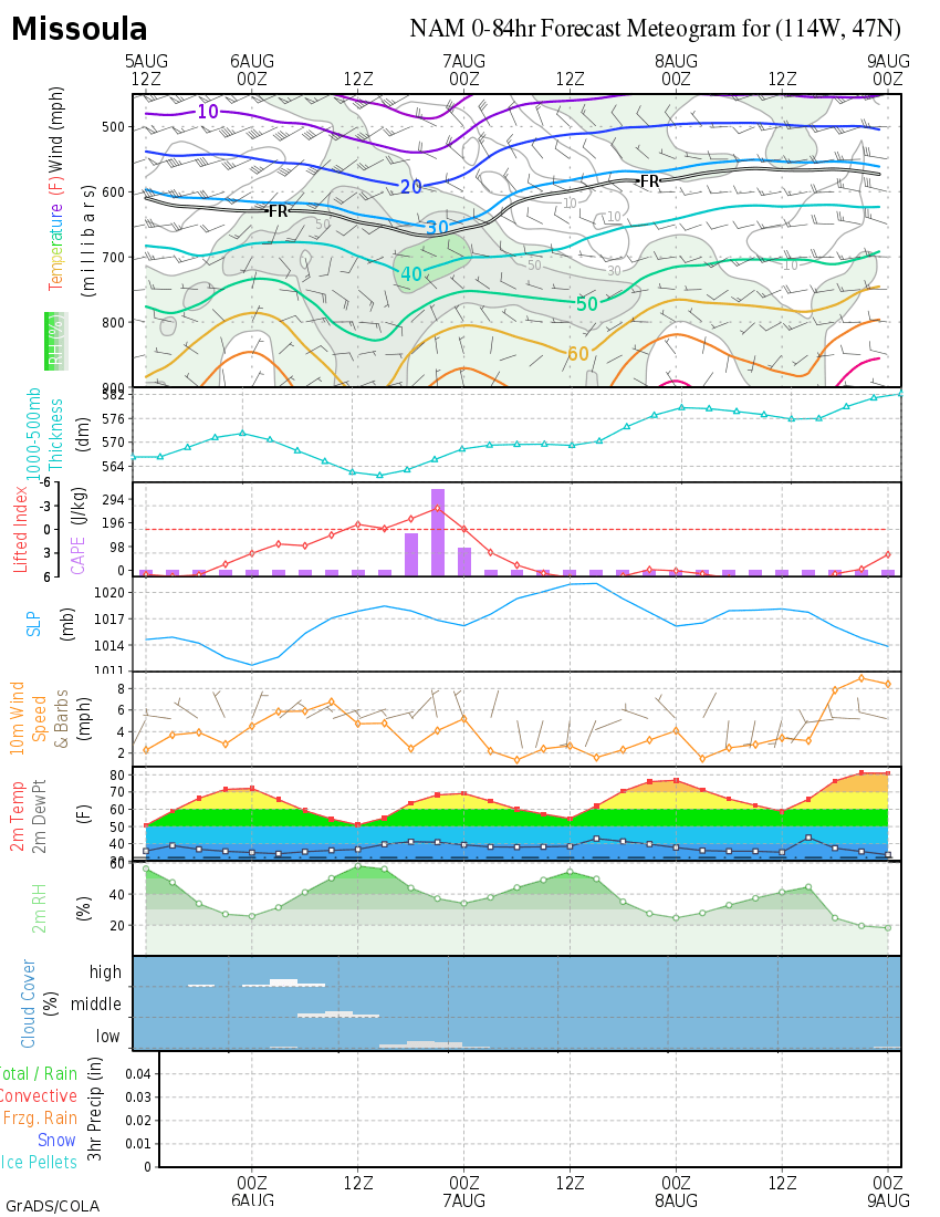 nam meteograms  day 0