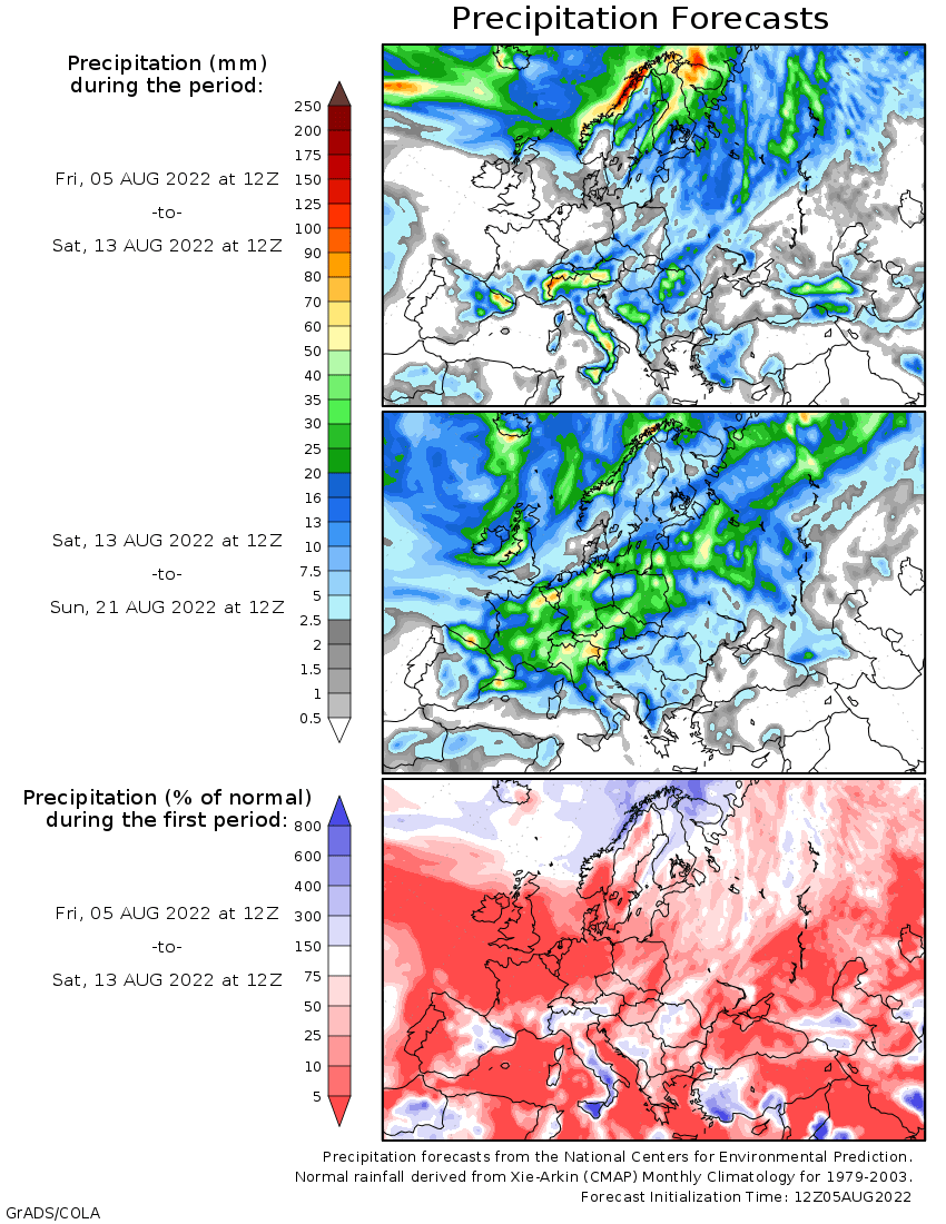 wxmaps 10 day precipitation forecast Ireland in Europe