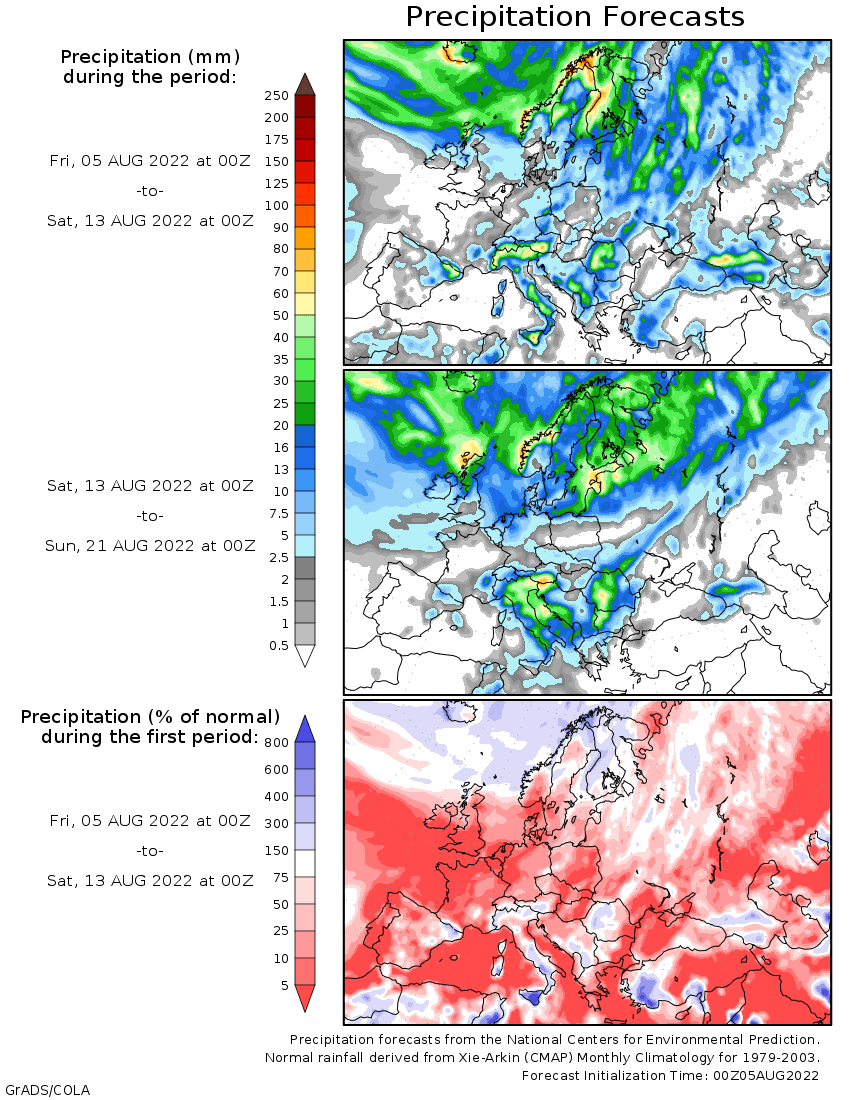 14-Day Precipitations Outlook for Europe  (COLA Weather and Climate Data: wxmaps.org) / cliquer pour acc�der au site
