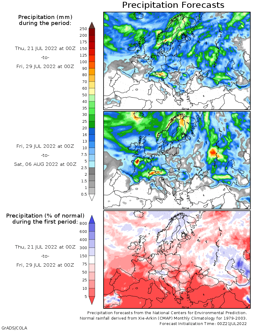 wxmaps 10 day precipitation forecast Europe
