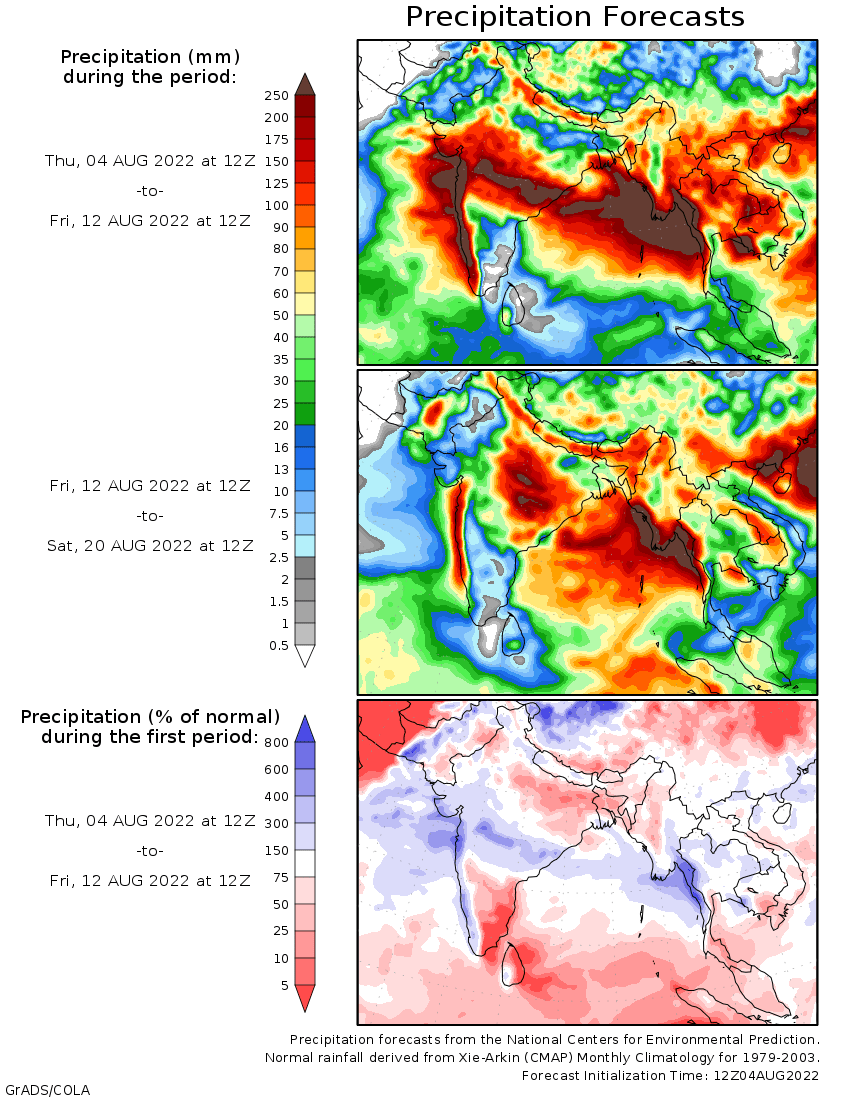 Weather forecast 2 weeks Asia and Australia (Temperaturi și precipițații Asia și Australia)