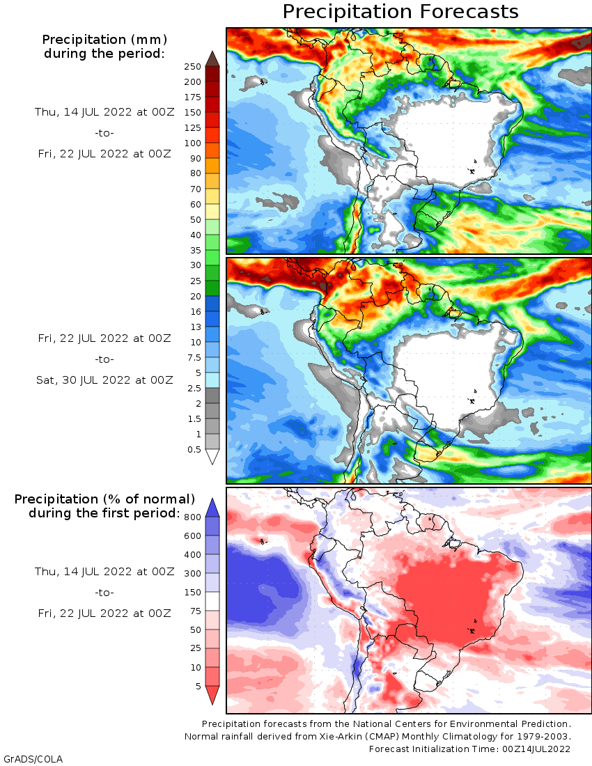 Day Precipitation Outlook For South America - Argentina rainfall map