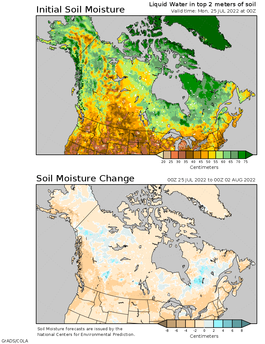 Day Soil Moisture Outlook For Canada And Alaska - Map of canada and alaska