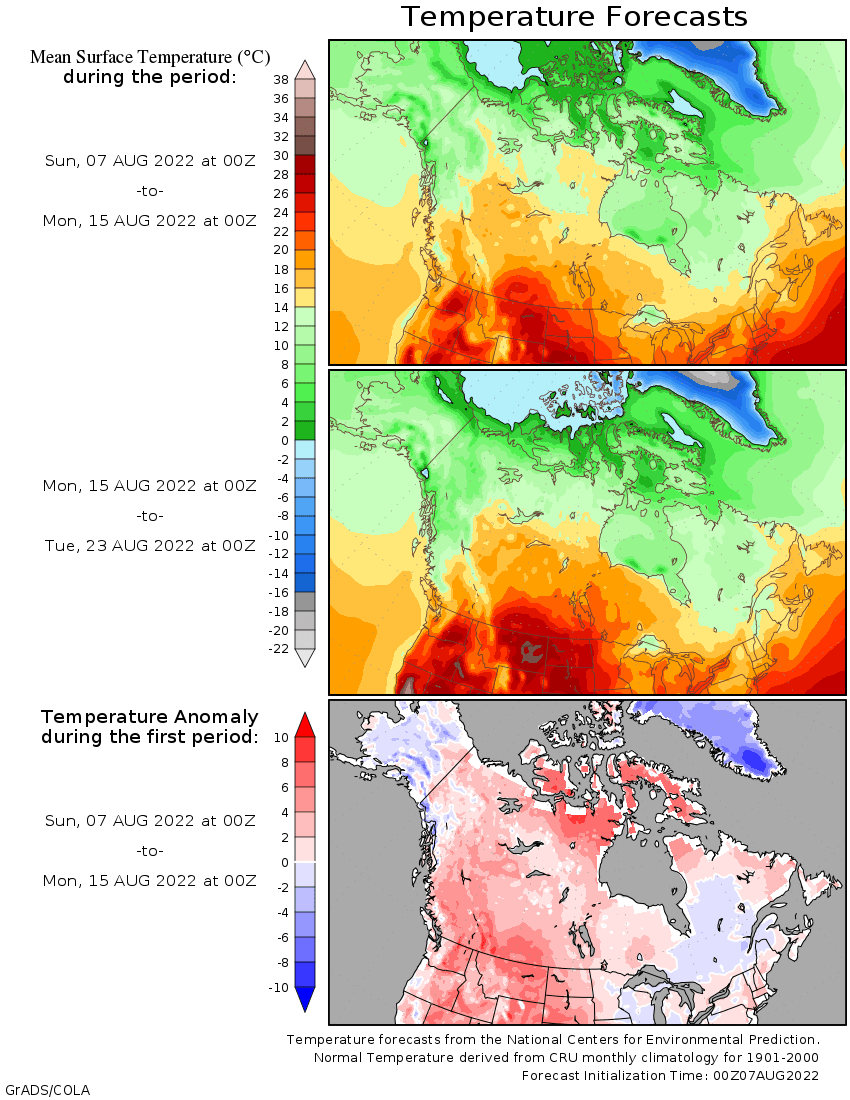 map of Alaska Canada temperature deviations
