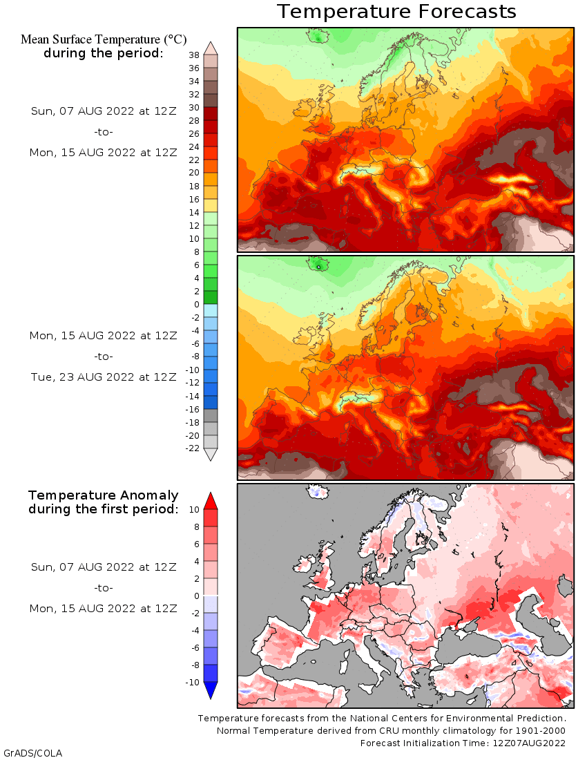 14-Day Temperature Outlook for Europe  (COLA Weather and Climate Data: wxmaps.org) / cliquer pour acc�der au site
