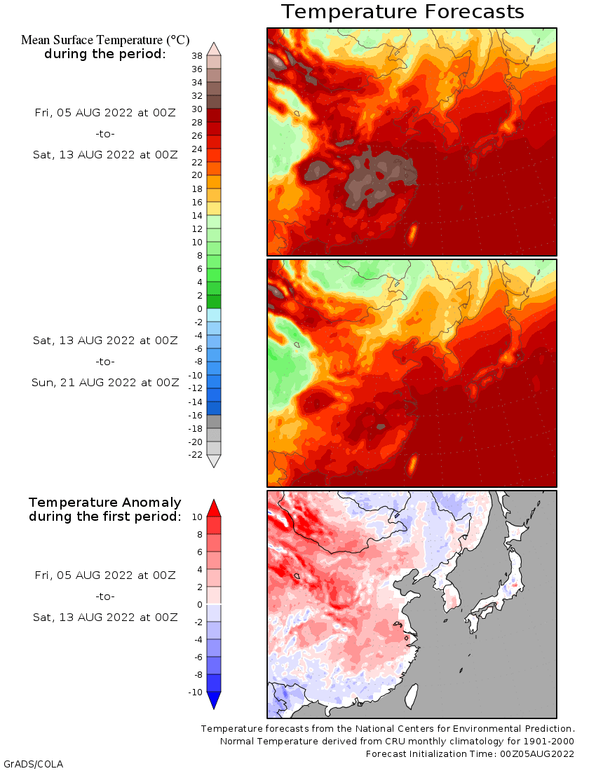 East Asia temperatures