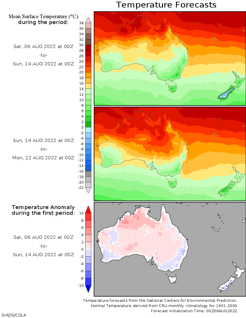 temperature map of Australasia